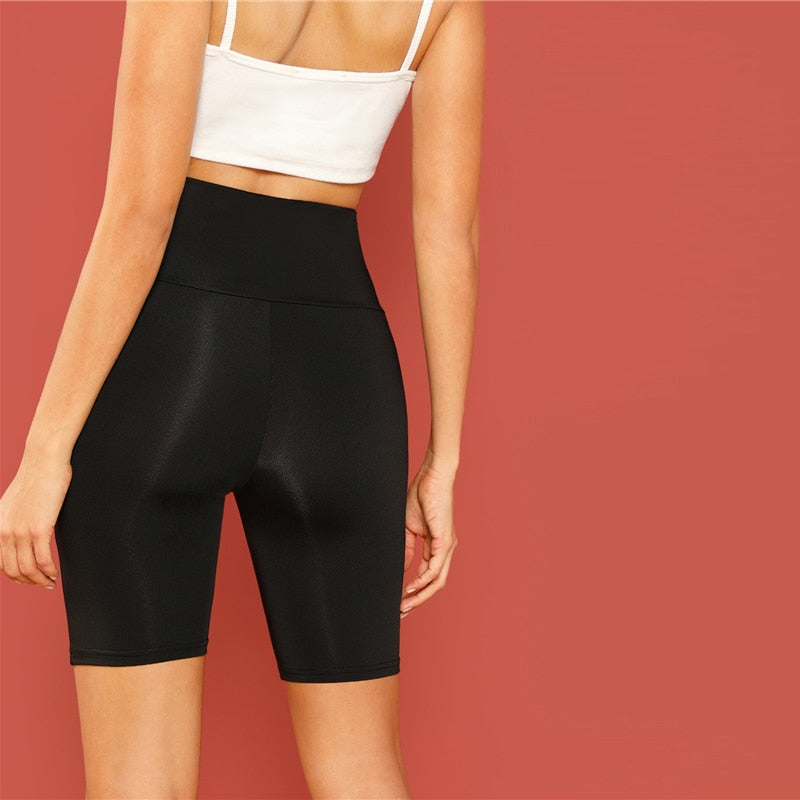 Black Casual Solid Crop Wide Waistband Cycling Short Leggings Modern