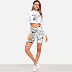 Modern Black and White Letter Print Cycling Crop Short Leggings