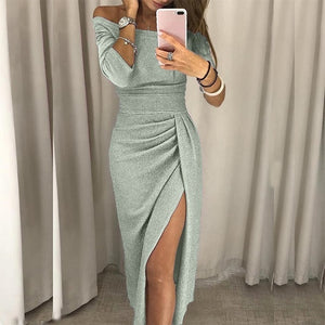 Sexy Off Shoulder Party High Slit Bodycon Bright Silk Shiny Dress