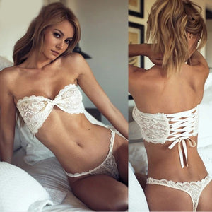 Sexy Lace Bow Triangle Cup Wireless Bra Thin Lingerie Set