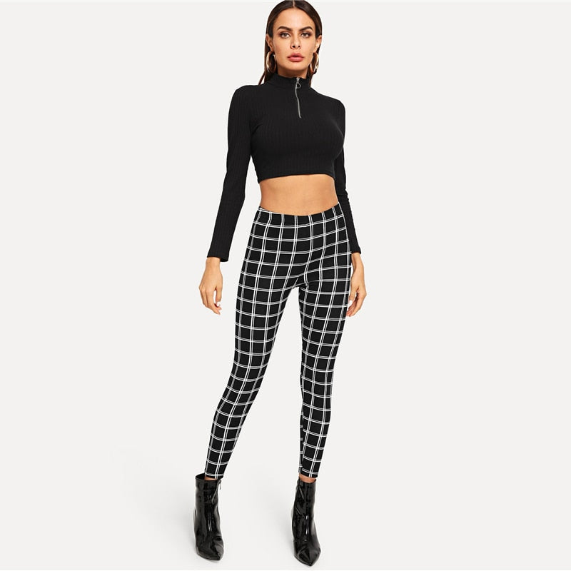 Black Wide Waist Plaid Leggings Office Skinny