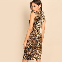 Modern Mock-Neck Leopard Print Dress