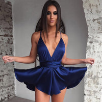 Sexy Strap Satin Backless Dress V Neck Night Party Short Dress