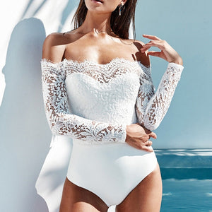 New white Lace Sexy Ladies Elegant  Off Shoulder Bodysuit