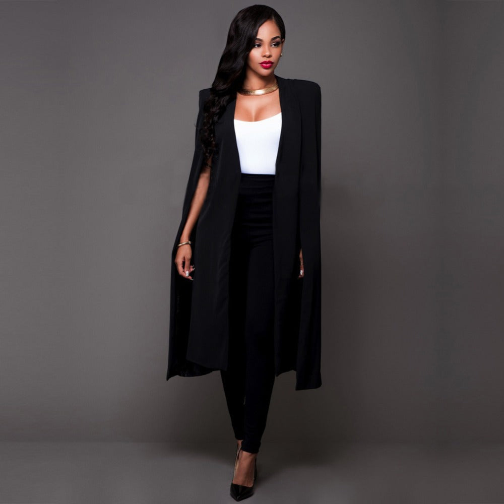 Fashionable Casual Solid Long Slim Blazer
