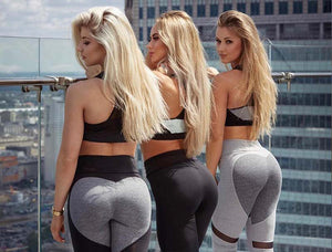 Fashion Push Up Mesh Love Heart Black Leggings