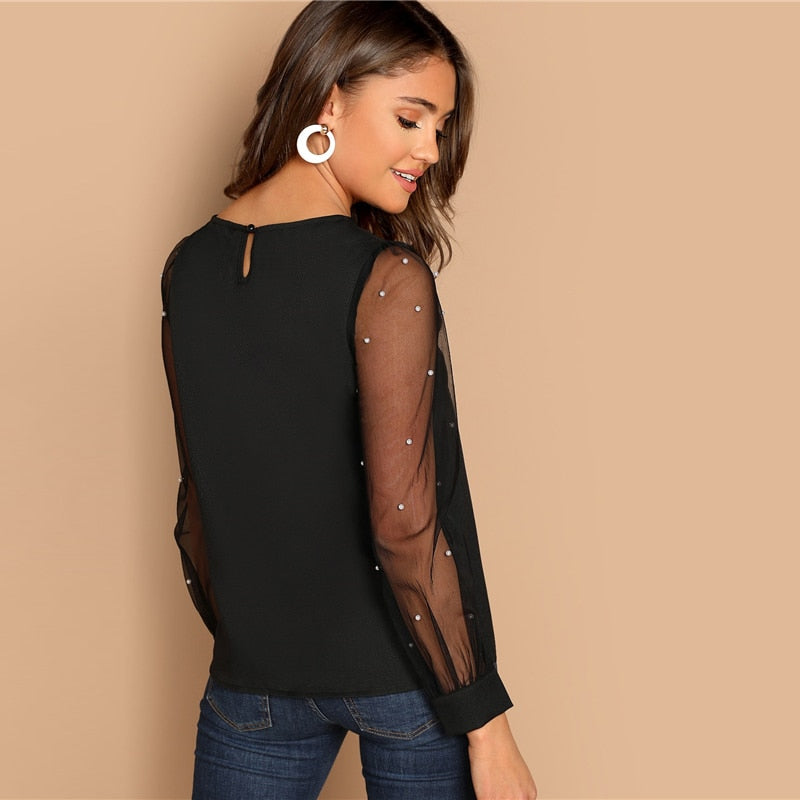 Modern Black Pearl Beaded Mesh Sleeve Blouse