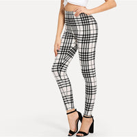 Black And White Office Highstreet Plaid Skinny Casual Leggings