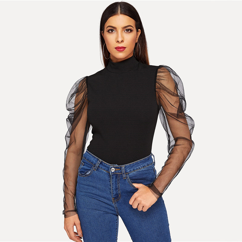 Going Out Highstreet Black Mesh Gigot Sleeve Modern Fitted Top