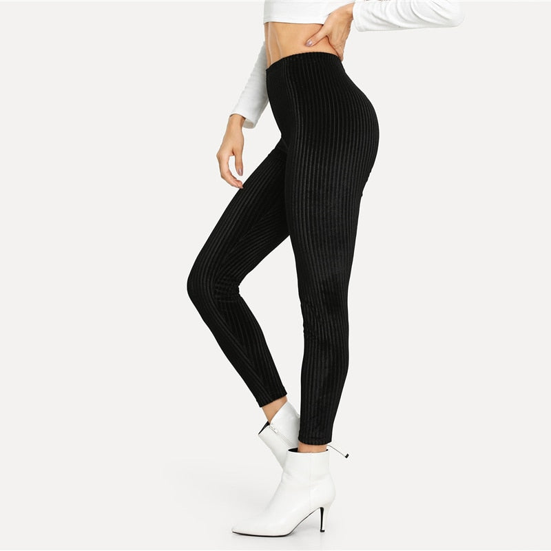 Black Casual Solid Velvet Ribbed Plain High Waist Crop Slim Leggings
