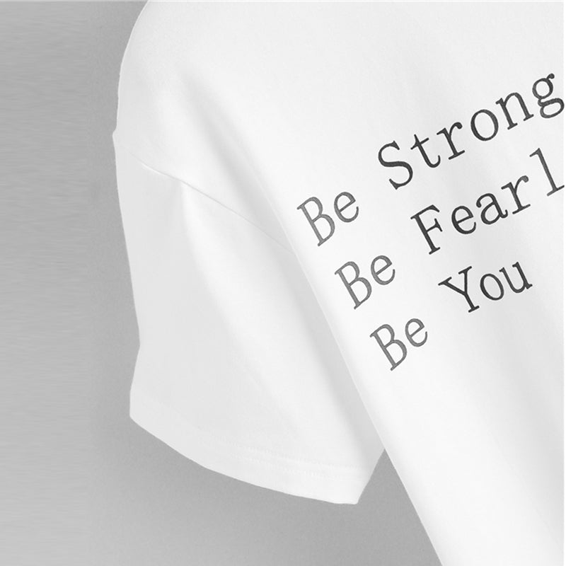Highstreet White Rolled Up Sleeve Be Fearless Print Tee