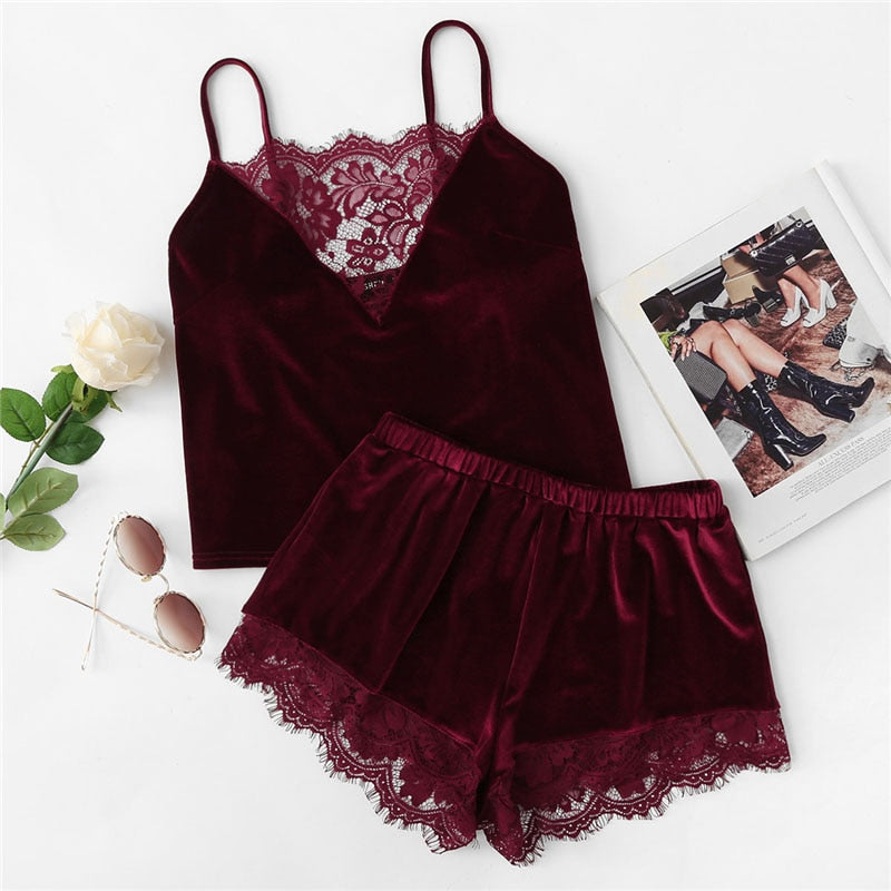 Lace Trim Velvet Burgundy Cami Shorts Pajamas Set