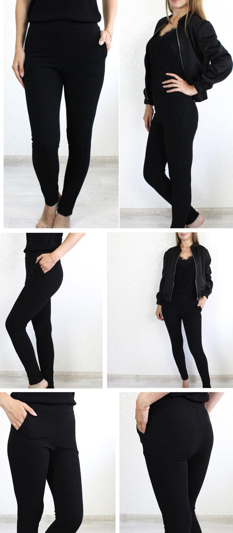 Elastic Waist Black Striped Mid Waist Skinny Trousers Office Pants