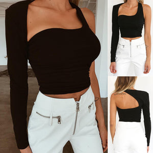 Fashion Sexy Solid One Shoulder Hollow Out Short Backing Top Navel T-shirt