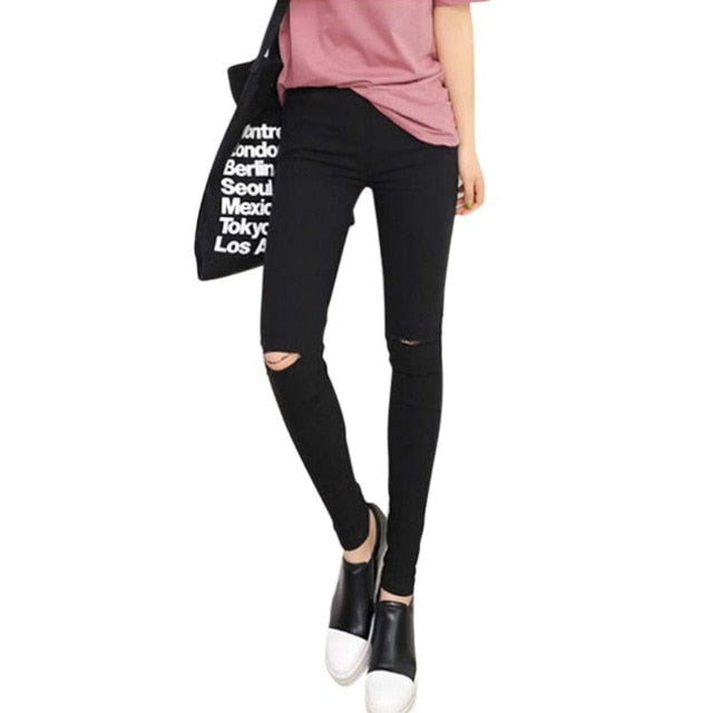 Knee Ripped Hole Pencil Pants Skinny Thin Stretch Leggings