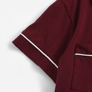 Burgundy Contrast Piping Pocket Front Shirt And Shorts Pajama Set