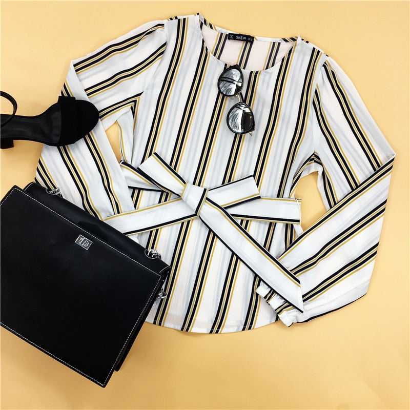 White Office Striped Print Scoop Neck Long Sleeve