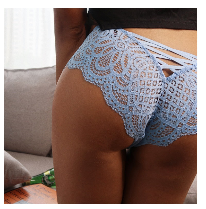 Sexy Hollow Out Cross Lace Up Elastic Bandage Transparent Thong