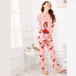 Pink Cartoon Girl Print Plush Pajama Set