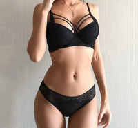 Classic Bandage Black Push Up Sexy Bra Lace Embroidery Gather Lingerie Set