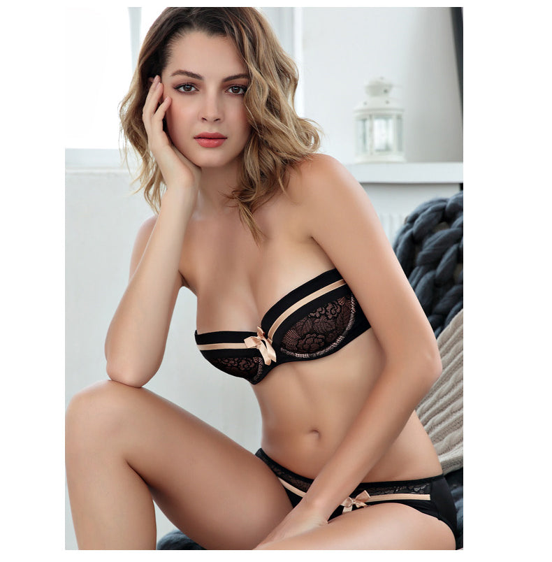 Sexy Comfortable Lace Push-Up Bra Set - Cute Fashion Bow 1/2 Thin Cup Bra & Panties