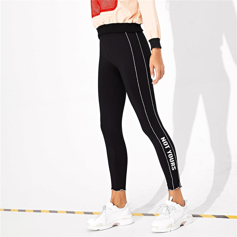 Black Casual Solid Plain High Waist Crop Streetwear Leggings