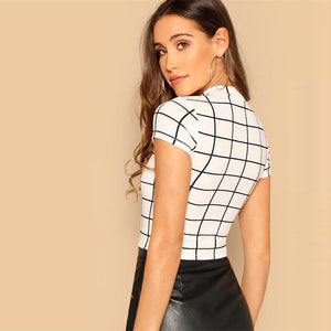 Black & White Plaid Peplum Top Casual Short Sleeve tops