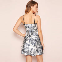 Sexy Floral Print Lace Trim Satin Camis Nightdress