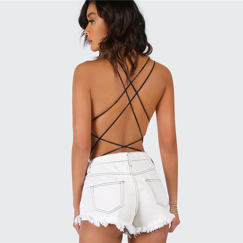 Black Strappy Backless Sexy Party Club Bodysuits