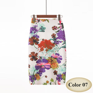 Fashion floral vintage Style Pencil Skirt High Waist