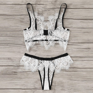 White Sexy Eyelash Lace Unlined Lingerie Set