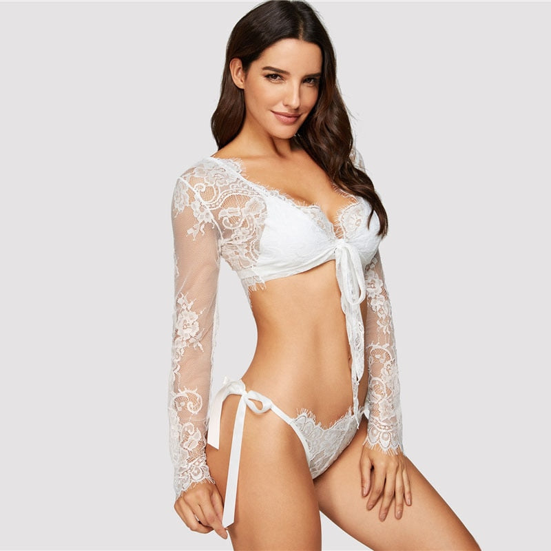 White Knot Floral Lace Solid Long Sleeve Robe With Thong Lingerie Set