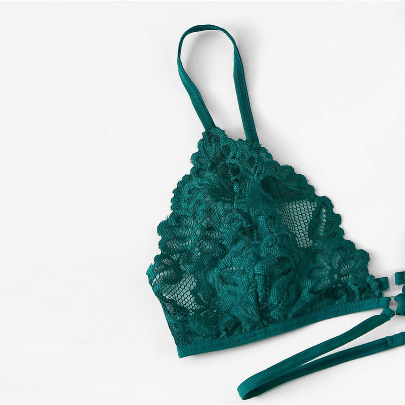 Green Sexy Floral Lace Lingerie Set Back Closure Bra and Briefs Underwear