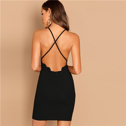 Sexy Scallop Trim Halter Spaghetti Strap Slim Party Dress