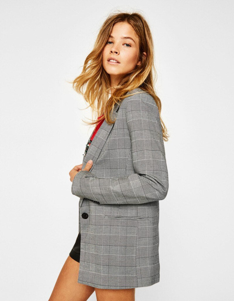 Office Casual Plaid 's Notched Formal Blazer