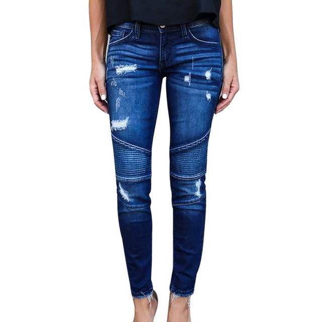 New Women's Motorcycle Biker Zipper Jeans Hole Ripped Stretch Skinny Denim