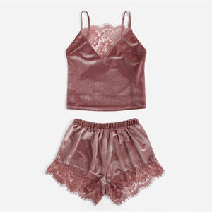 Pink Lace Insert Velvet Sleeveless Cami Top and Shorts Pajama Set