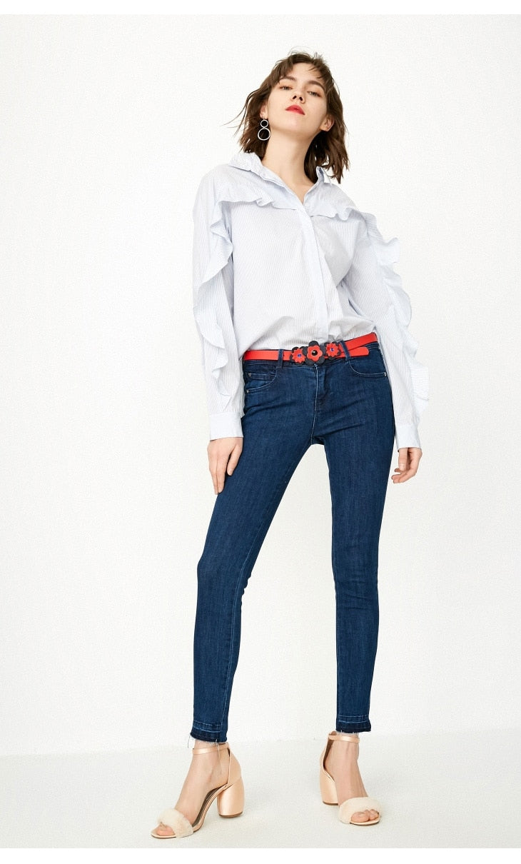 Women's Raw-edge Slit Slim Fit Crop low waist Jeans