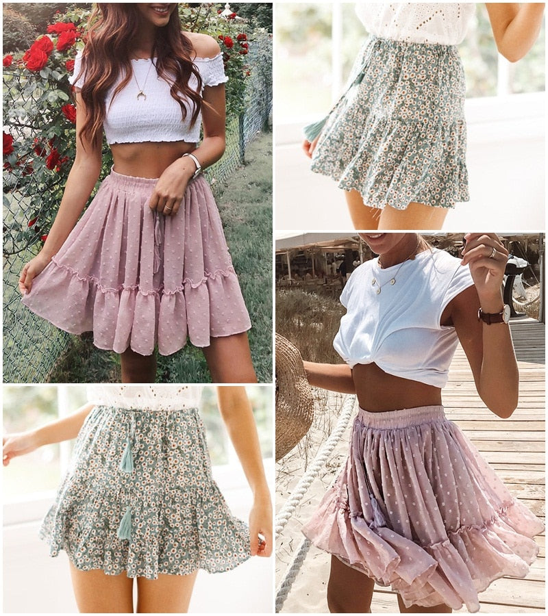 Polka dot mini High waist A line Sexy Summer Skirt
