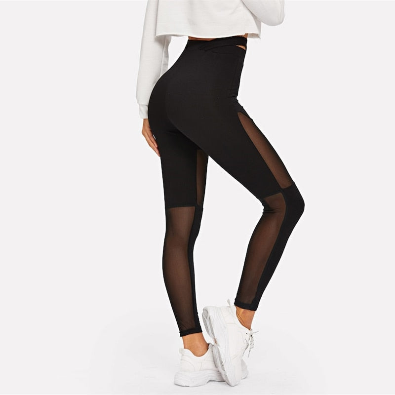 Black Criss Cross Contrast Mesh Sheer Solid Crop Plain Leggings