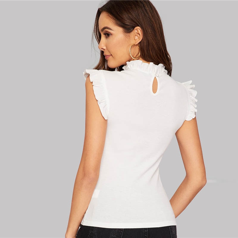 White Frilled Trim Keyhole Back Slim Fitted Fashion Top Blouse
