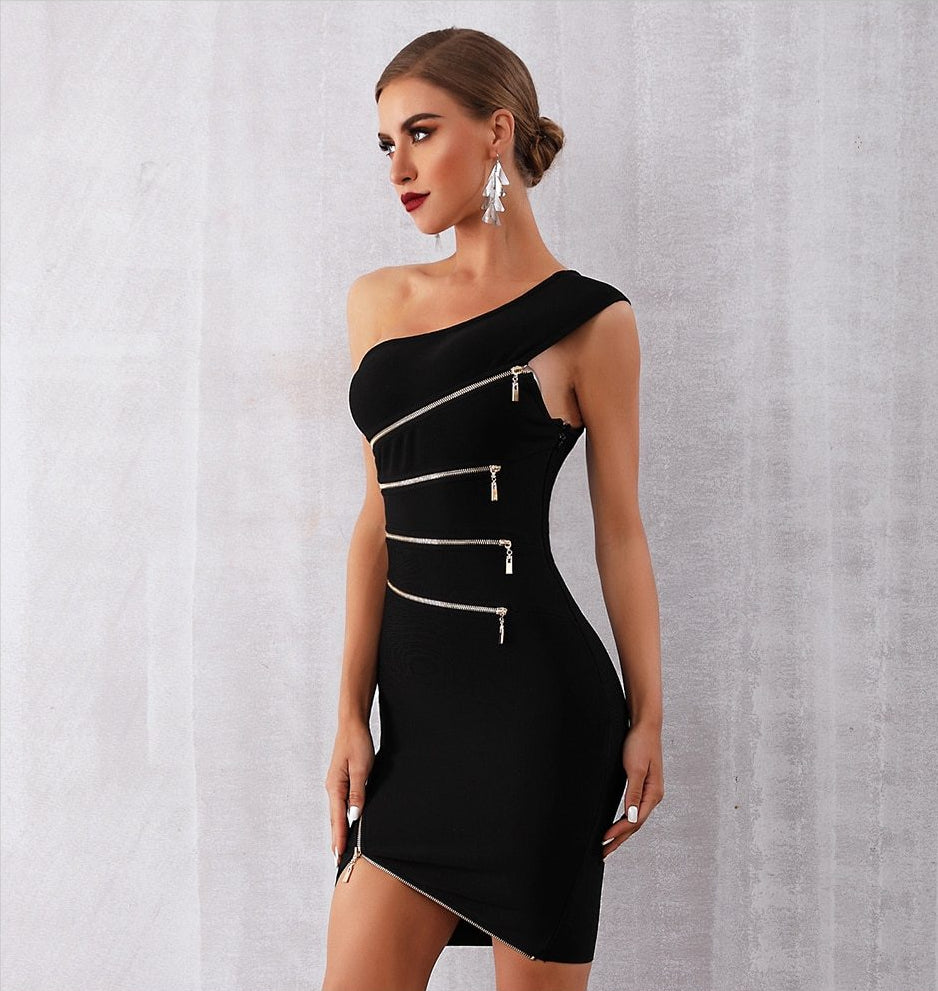 New Modern Bandage Sexy One Shoulder Zipper Black Night Dress
