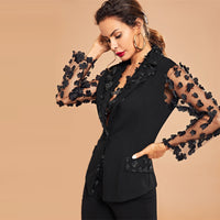Appliques Sheer Mesh Sleeve Party Blazer