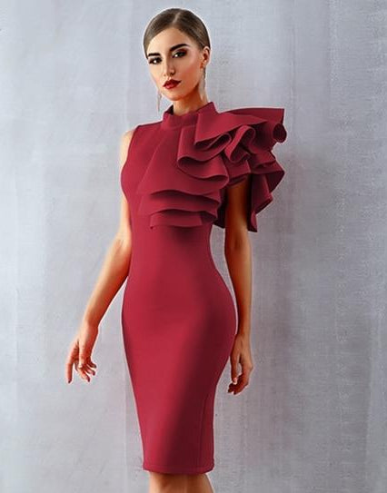 Red Fashion Celebrity Evening Dress