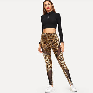 Multicolor Cut-and-sew Mesh Insert Leopard High Waist Leggings