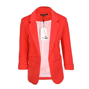 Slim Fit Formal Office Open Front Notched Blazer