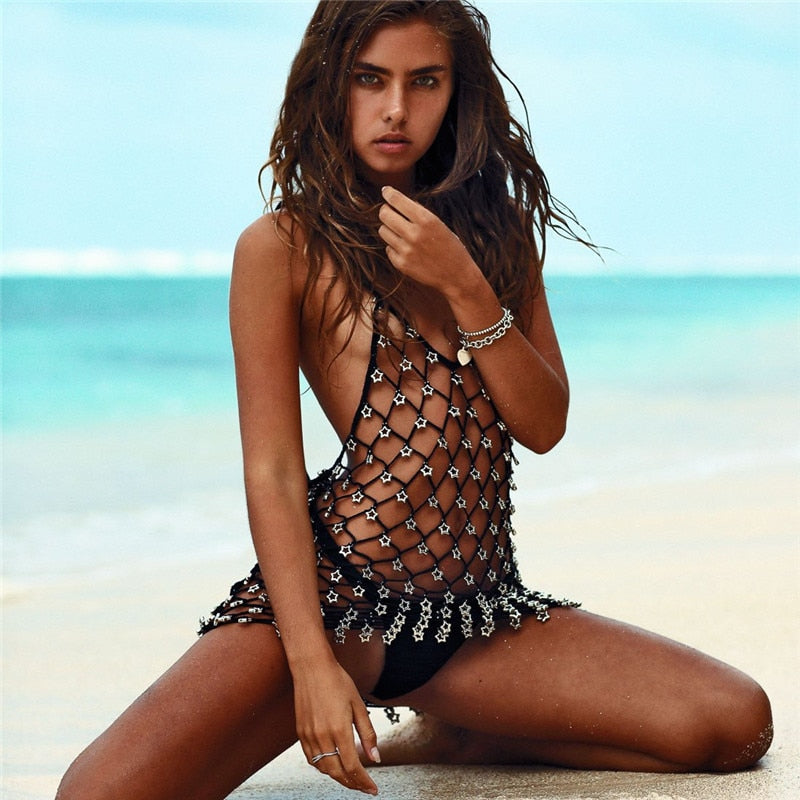 Beach Party Mini Sexy Dress Crochet Star Sequin Bikini Cover Up
