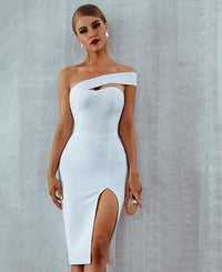 Bandage Sexy White Black One Shoulder Midi Celebrity Party Dress