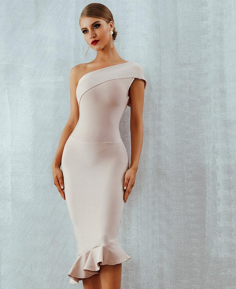 New Bandage One Shoulder Celebrity Evening Party Dress