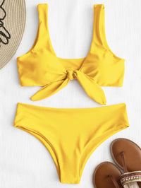 Padded Front Knot Beach Sets Set Solid Color Sexy Beachwear